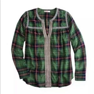 J. Crew Green Plaid Embroidered Peasant Top Sz 2